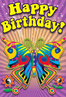 60's Butterfly Birthday Card Greeting Card