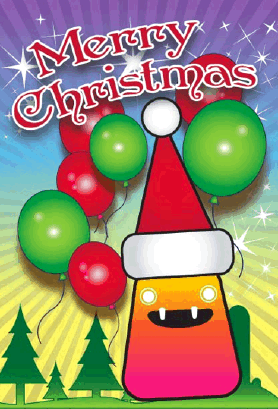 Balloons and Monster Christmas Card Greeting Card