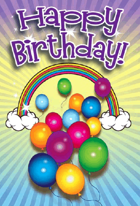 Balloons and Rainbow Birthday Card Greeting Card