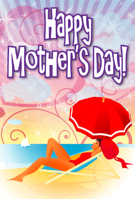 Beach Umbrella Mother's Day Card Greeting Card