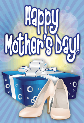 Blue Box White Shoes Mother's Day Card Greeting Card