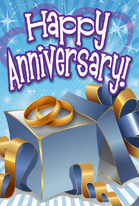 Blue Gift Box Opened Anniversary Card Greeting Card