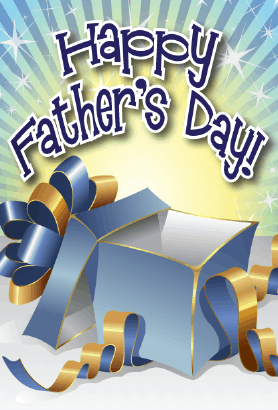 Blue and Gold Gift Father's Day Card Greeting Card