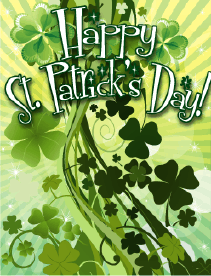 Bunches of Shamrocks Small St Patrick's Day Card Greeting Card
