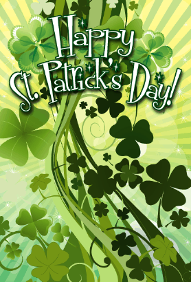 Bunches of Shamrocks St Patrick's Day Card Greeting Card
