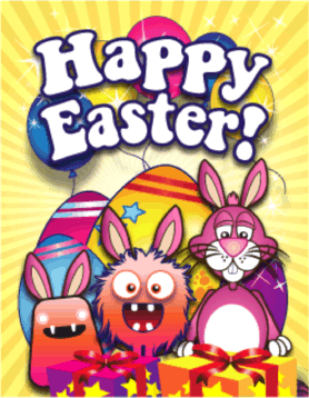 Bunnies Monsters Presents Small Easter Card Greeting Card