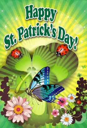 Butterfly and Bugs St Patrick's Day Card Greeting Card