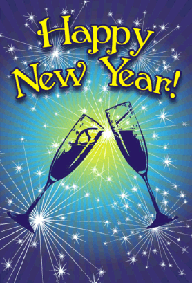 Champagne New Years Card Greeting Card