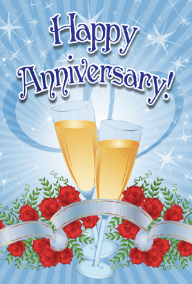 Champagne and Roses Anniversary Card Greeting Card