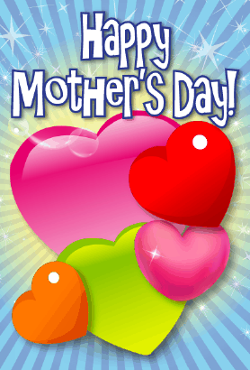 Colorful Hearts Mother's Day Card Greeting Card