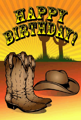 Cowboy Hat and Boots Birthday Card Greeting Card
