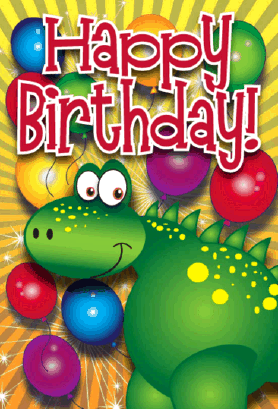 Dinosaur and Balloons Birthday Card Greeting Card