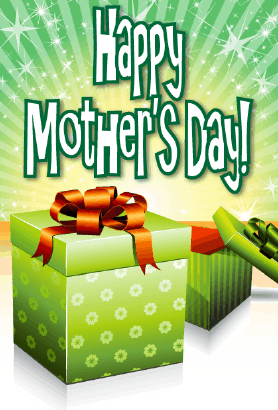 Flowered Green Box Mother's Day Card Greeting Card
