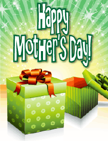 Flowered Green Box Small Mother's Day Card Greeting Card