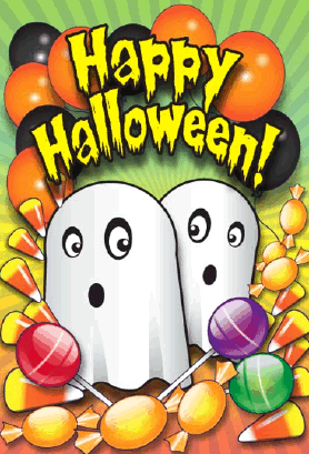 Ghosts Balloons Candy Halloween Card Greeting Card