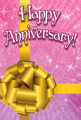 Gold Ribbon Anniversary Card Greeting Card