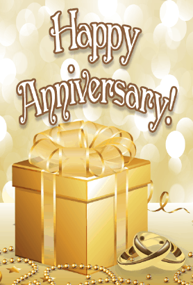 Golden Gift Anniversary Card Greeting Card