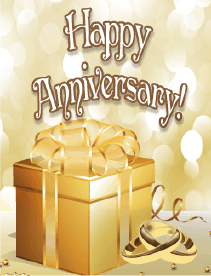 Golden Gift Small Anniversary Card Greeting Card
