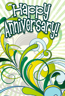 Green Abstract Anniversary Card Greeting Card