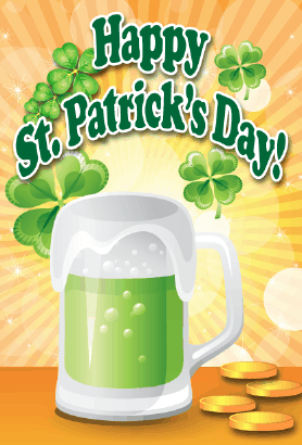 Green Beer Mug St Patrick's Day Card Greeting Card