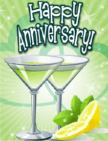 Green Cocktails Small Anniversary Card Greeting Card
