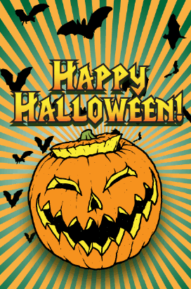 Jack o Lantern and Bats Halloween Card Greeting Card
