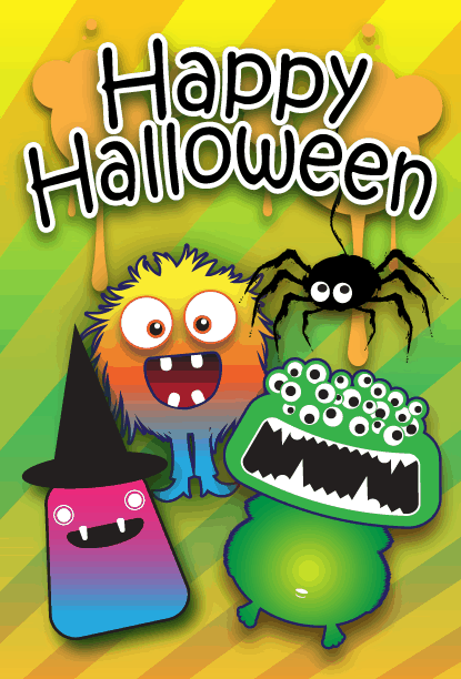 Many Eyed Halloween Monster Card Greeting Card
