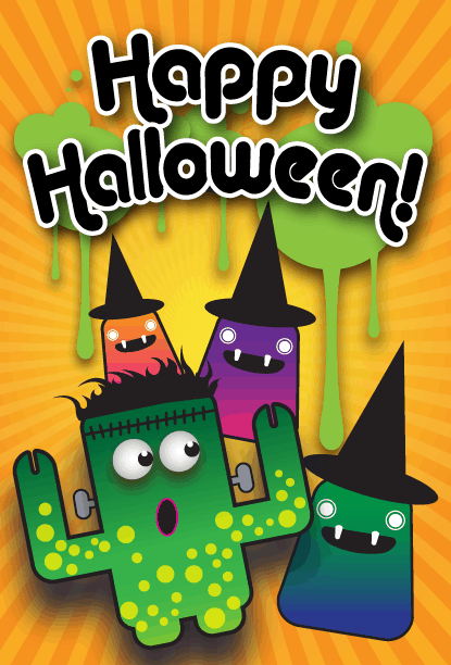 Happy Halloween Monster Witches Card Greeting Card