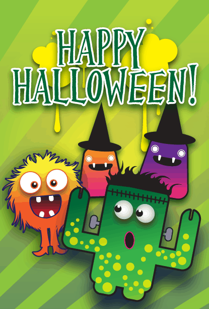 Happy Halloween Monsters Card Greeting Card
