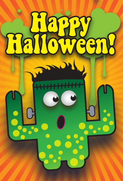 Frankenstein Monster Halloween Card Greeting Card