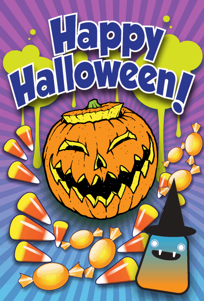 Jack O Lantern Candy Halloween Card Greeting Card