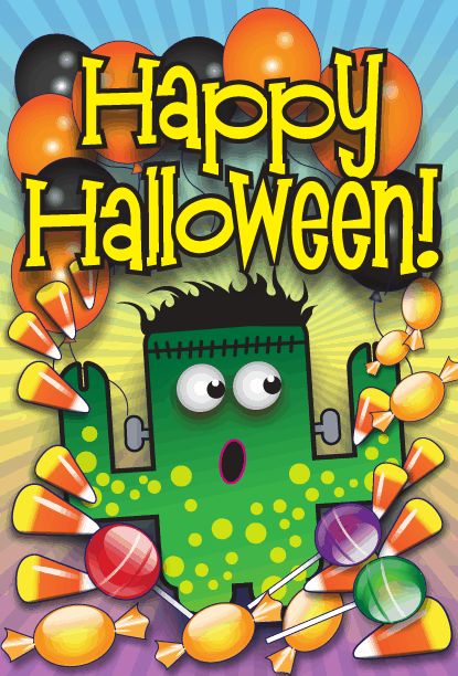 Frankenstein Candy Halloween Card Greeting Card