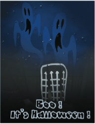 Halloween Card with Ghosts and Graveyard Greeting Card