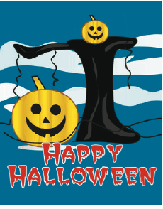 Halloween Card with Tree and Pumpkin Greeting Card