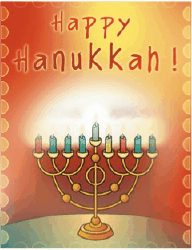Hanukkah Card with Colorful Menorah (small) Greeting Card