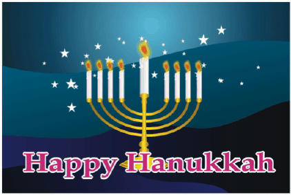 Hanukkah Card with Menorah and Stars Greeting Card
