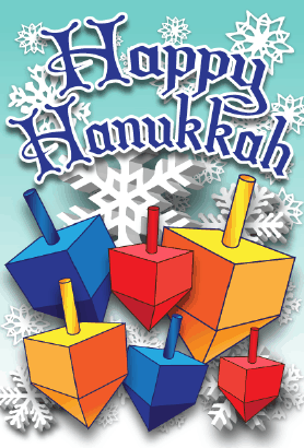 Happy Hanukkah Dreidels Card Greeting Card