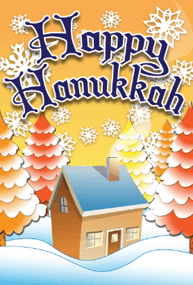 Happy Hanukkah Trees Card Greeting Card