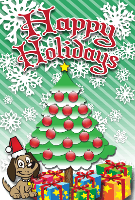 Happy Holidays Puppy Card Greeting Card