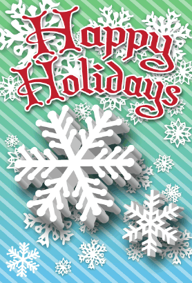 Happy Holidays Snowflakes Card Greeting Card
