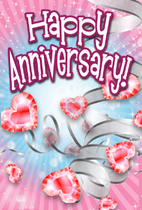 Heart-shaped Jewels Anniversary Card Greeting Card