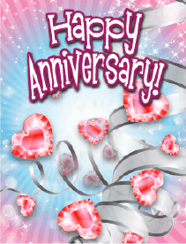 Heart-shaped Jewels Small Anniversary Card Greeting Card