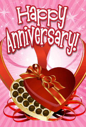 Heart Candy Box Anniversary Card Greeting Card
