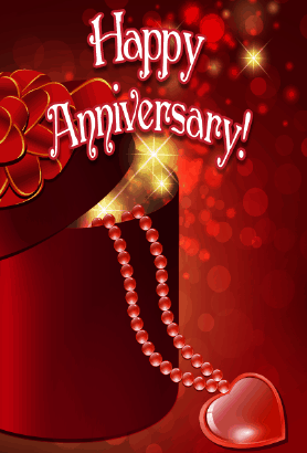 Heart and Beads Anniversary Card Greeting Card