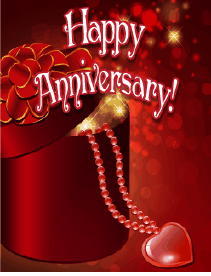 Heart and Beads Small Anniversary Card Greeting Card