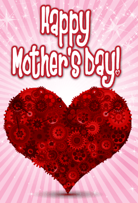 Heart and Gears Mother's Day Card Greeting Card