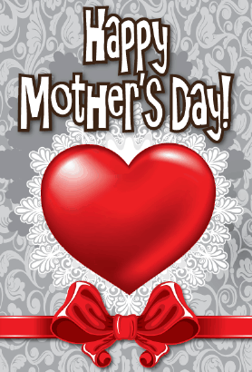 Heart and Ribbon Mother's Day Card Greeting Card