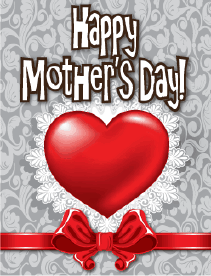 Heart and Ribbon Small Mother's Day Card Greeting Card