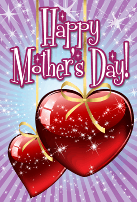 Hearts on Ribbons Mother's Day Card Greeting Card