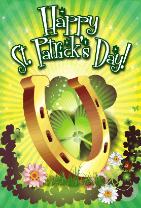 Horseshoe and Shamrocks St Patrick's Day Card Greeting Card